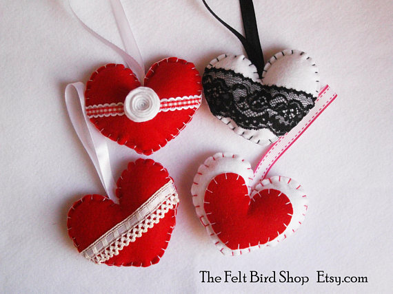 Mother's Day - Red & White Felt Hearts